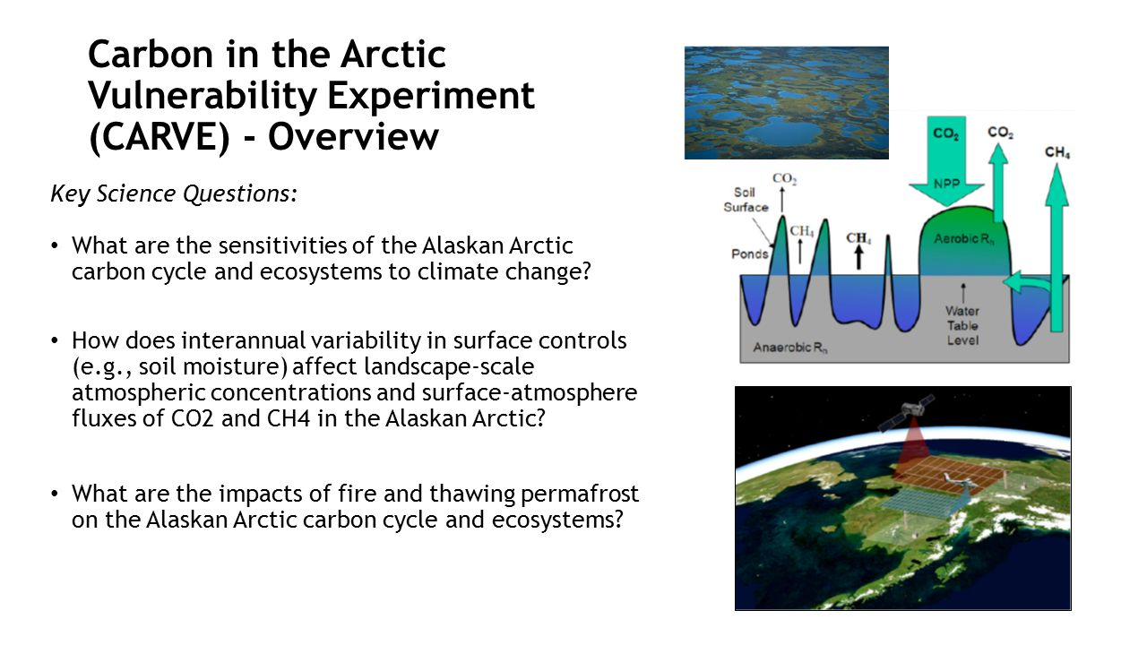 Carbon in the Arctic Vulnerability Experiment (CARVE) - Overview Key Science Questions: What are the sensitivities of the Alaskan Arctic carbon cycle and ecosystems to climate change.