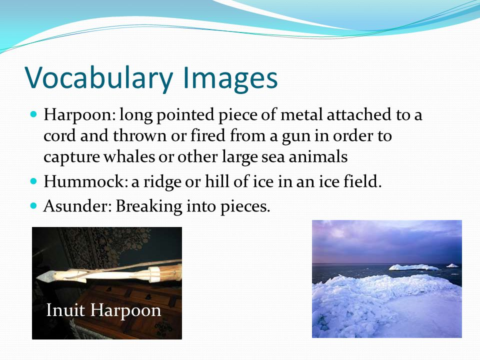 Vocabulary Images Harpoon: long pointed piece of metal attached to a cord and thrown or fired from a gun in order to capture whales or other large sea animals Hummock: a ridge or hill of ice in an ice field.