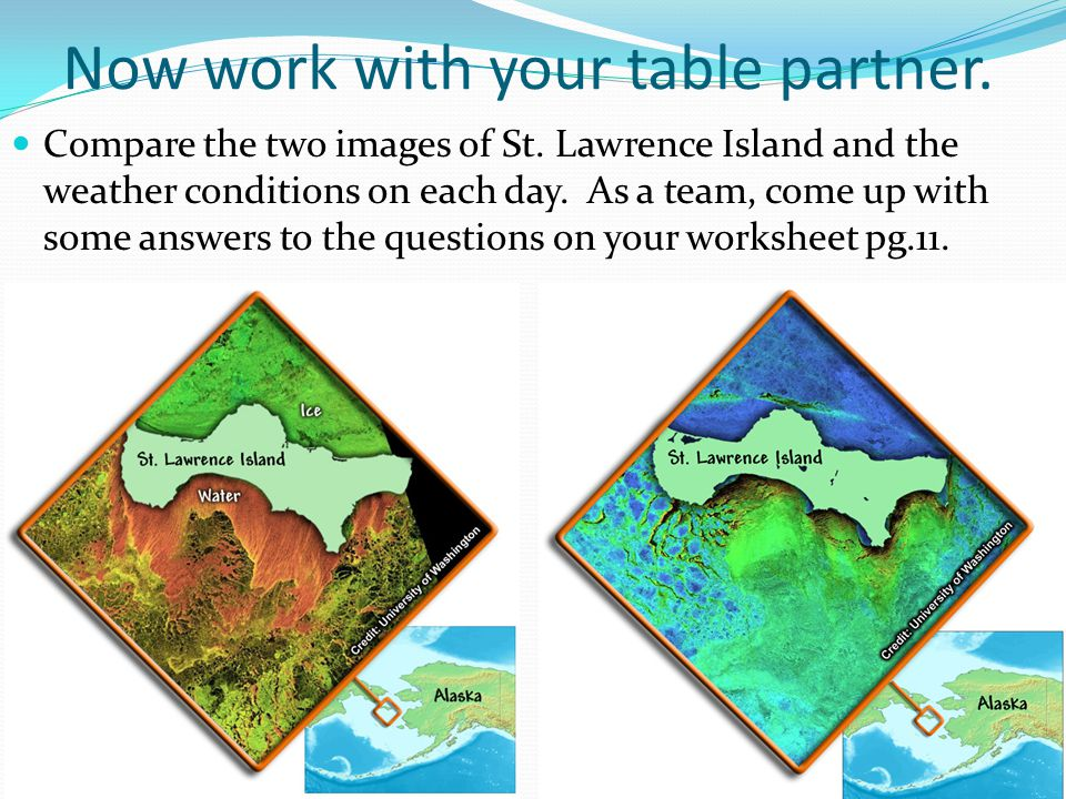 Now work with your table partner. Compare the two images of St. Lawrence Island and the weather conditions on each day. As a team, come up with some a