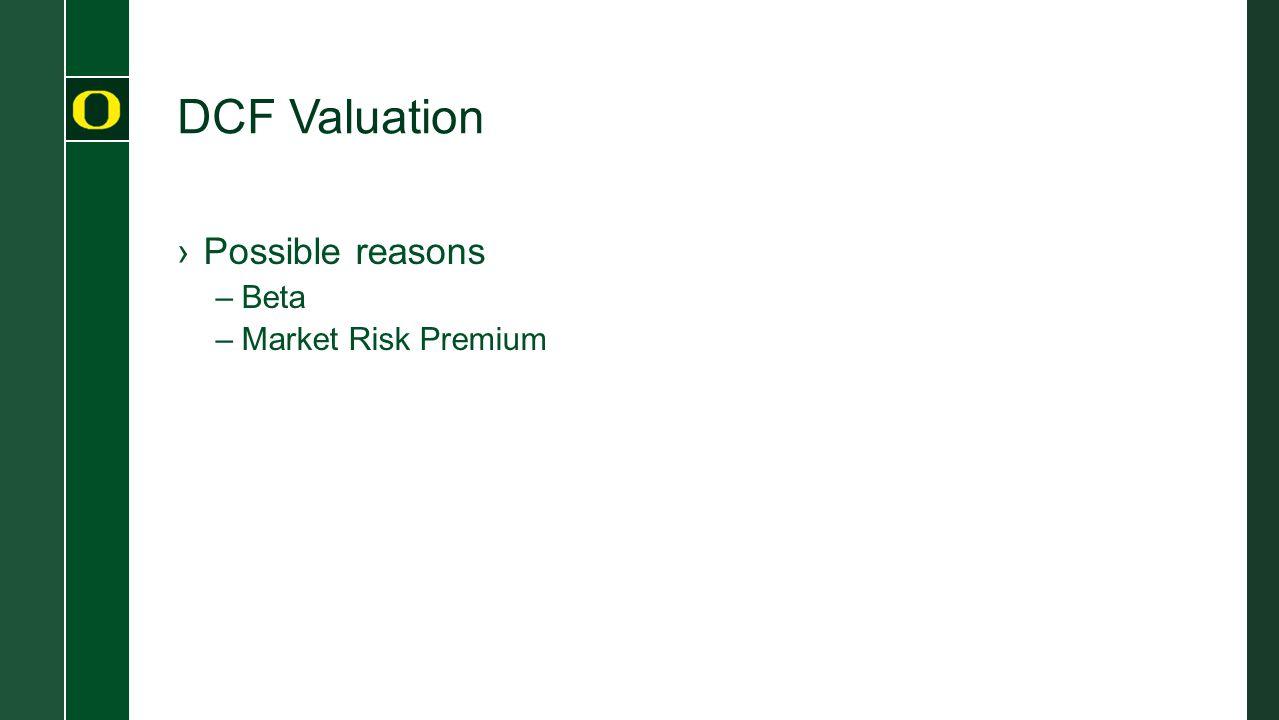 DCF Valuation ›Possible reasons –Beta –Market Risk Premium