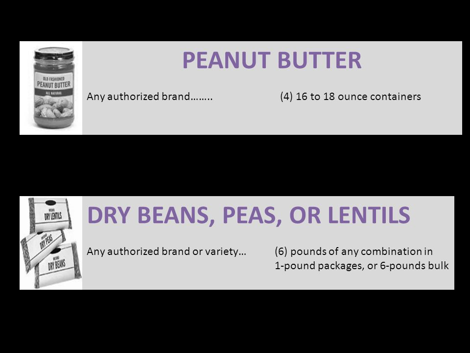 PEANUT BUTTER Any authorized brand……..