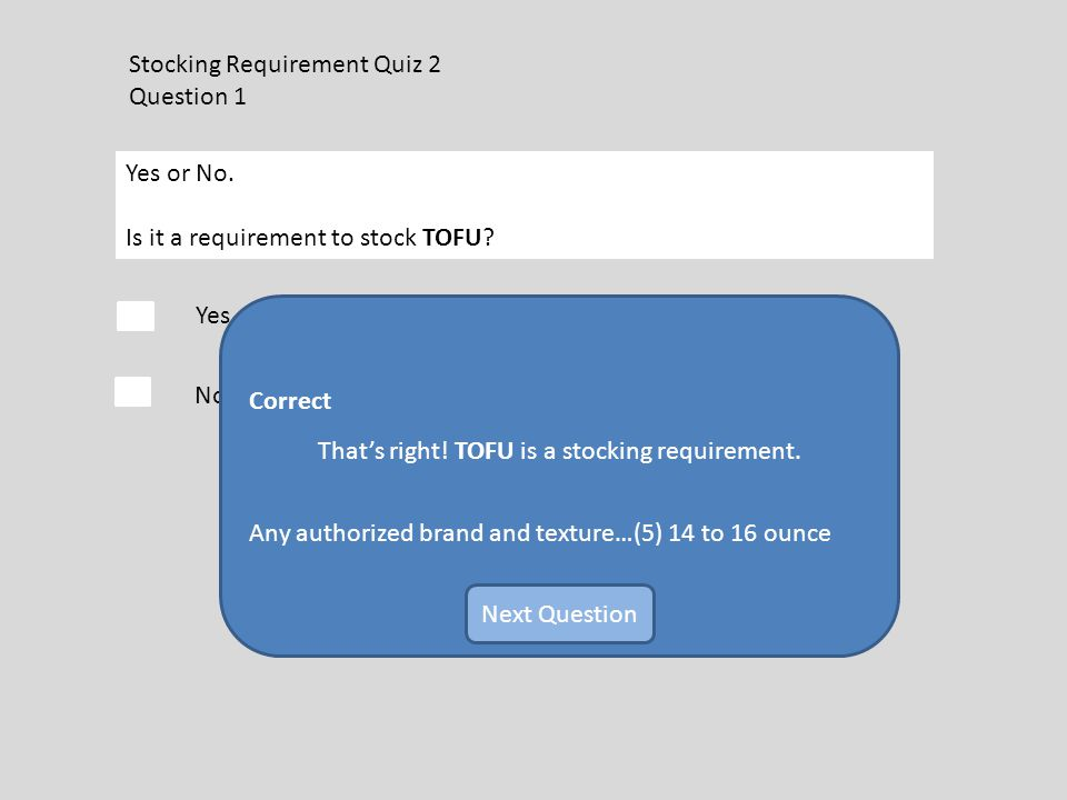Stocking Requirement Quiz 2 Question 1 Yes or No. Is it a requirement to stock TOFU.