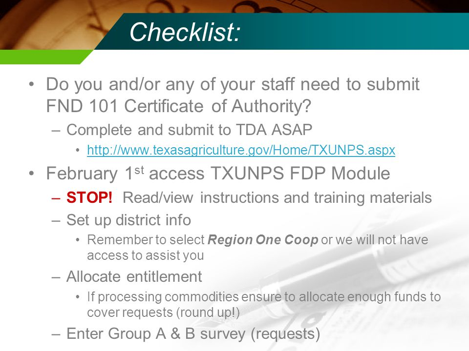 Checklist: Do you and/or any of your staff need to submit FND 101 Certificate of Authority.