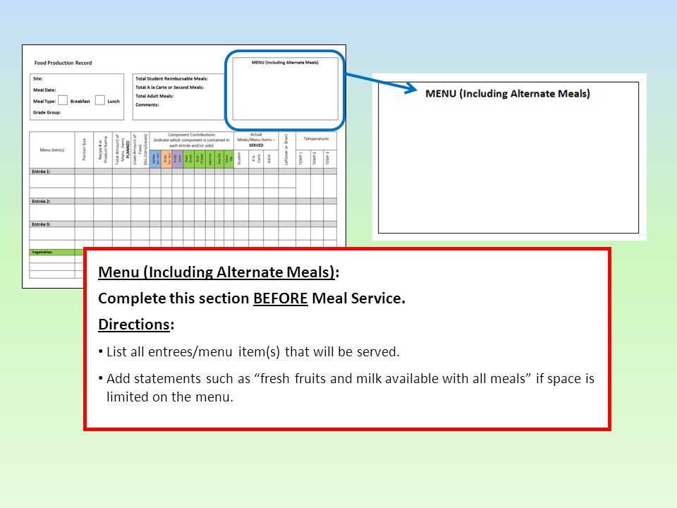 Menu (Including Alternate Meals): Complete this section BEFORE Meal Service.