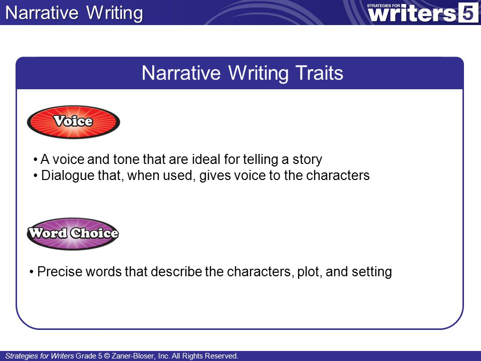 Strategies for Writers Grade 5 © Zaner-Bloser, Inc. All Rights Reserved.