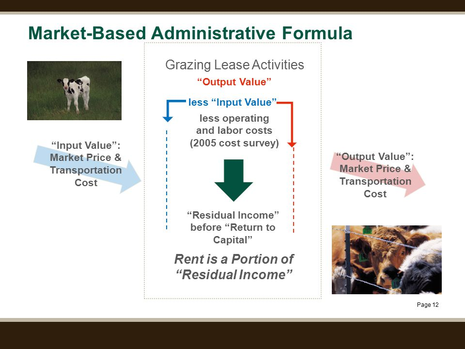 Page 12 Market-Based Administrative Formula Input Value : Market Price & Transportation Cost Residual Income before Return to Capital less Input Value Output Value : Market Price & Transportation Cost Grazing Lease Activities Output Value less operating and labor costs (2005 cost survey) Rent is a Portion of Residual Income