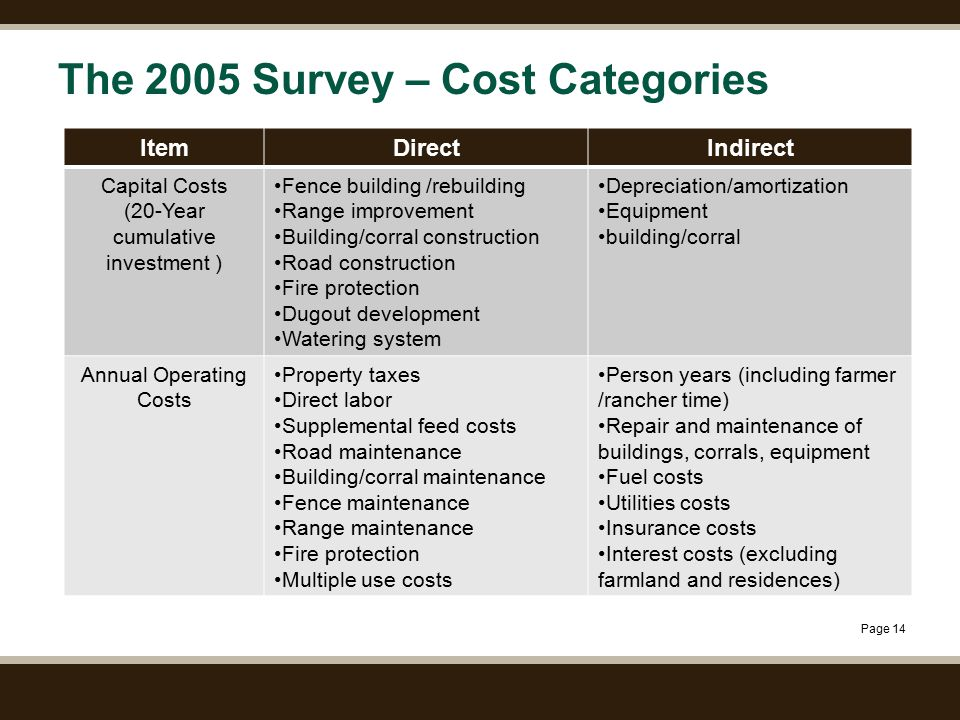 Page 14 The 2005 Survey – Cost Categories ItemDirectIndirect Capital Costs (20-Year cumulative investment ) Fence building /rebuilding Range improveme