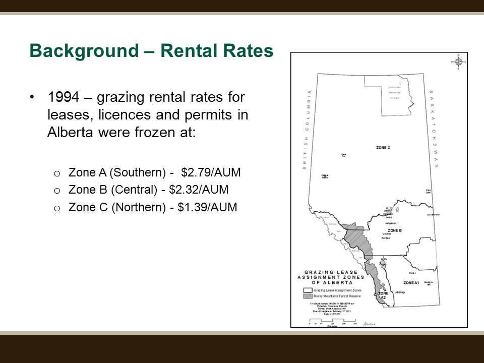 Page 4 Background – Rental Rates 1994 – grazing rental rates for leases, licences and permits in Alberta were frozen at: o Zone A (Southern) - $2.79/AUM o Zone B (Central) - $2.32/AUM o Zone C (Northern) - $1.39/AUM