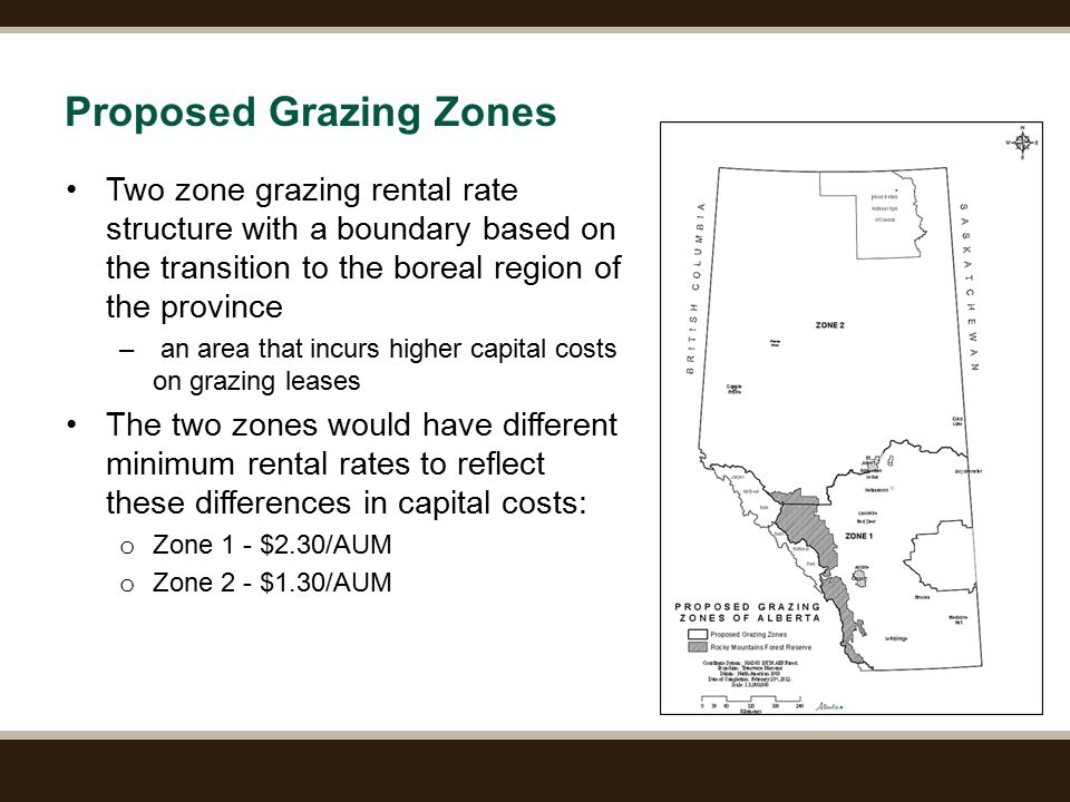 Page 9 Proposed Grazing Zones Two zone grazing rental rate structure with a boundary based on the transition to the boreal region of the province – an area that incurs higher capital costs on grazing leases The two zones would have different minimum rental rates to reflect these differences in capital costs: o Zone 1 - $2.30/AUM o Zone 2 - $1.30/AUM