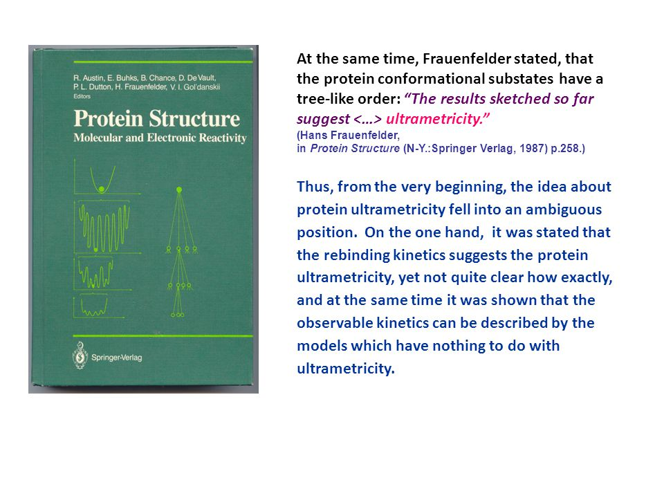 """At the same time, Frauenfelder stated, that the protein conformational substates have a tree-like order: """"The results sketched so far suggest ultramet"""
