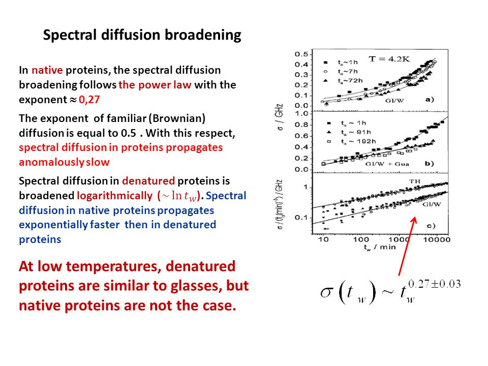 Spectral diffusion broadening At low temperatures, denatured proteins are similar to glasses, but native proteins are not the case.