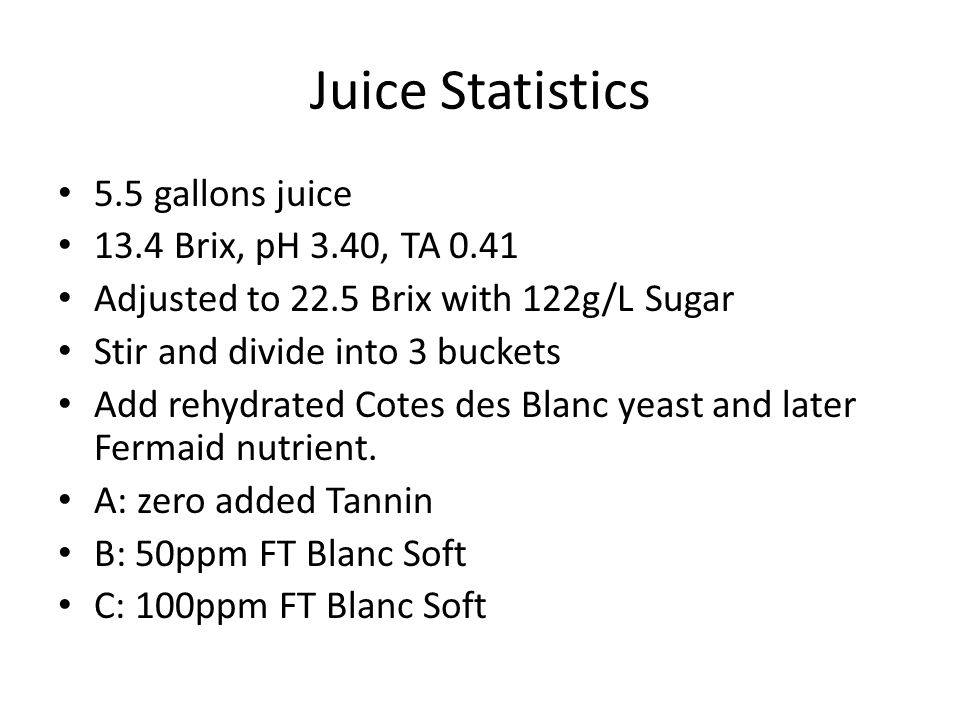 Juice Statistics 5.5 gallons juice 13.4 Brix, pH 3.40, TA 0.41 Adjusted to 22.5 Brix with 122g/L Sugar Stir and divide into 3 buckets Add rehydrated C