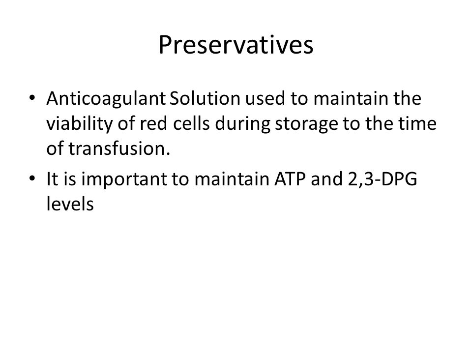 Anticoagulant Solution used to maintain the viability of red cells during storage to the time of transfusion.