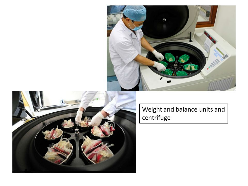 Weight and balance units and centrifuge