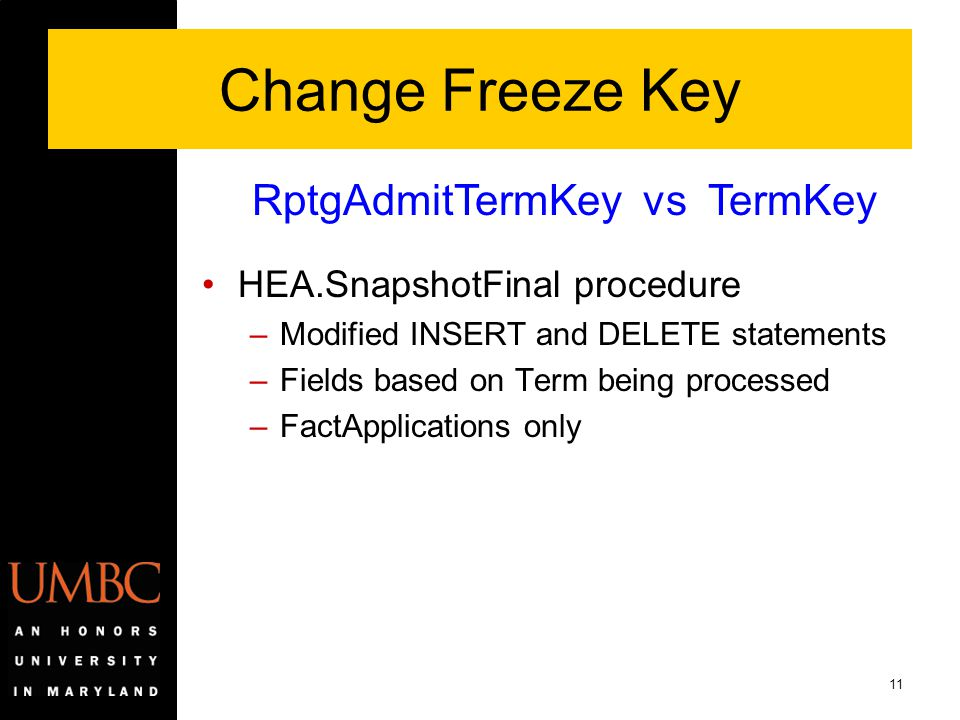 11 Change Freeze Key HEA.SnapshotFinal procedure –Modified INSERT and DELETE statements –Fields based on Term being processed –FactApplications only R