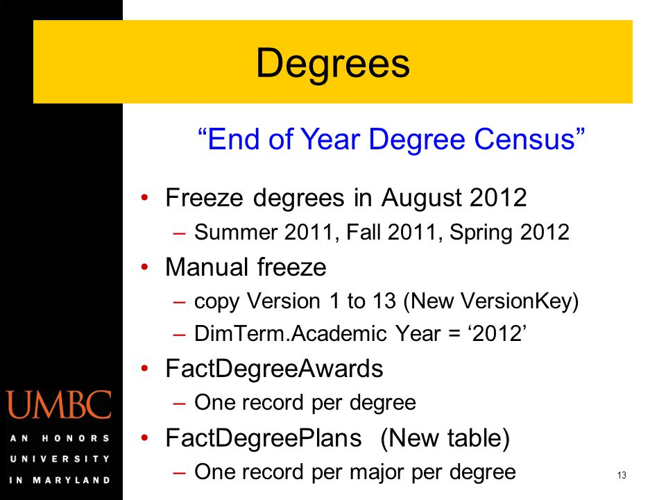 13 Degrees Freeze degrees in August 2012 –Summer 2011, Fall 2011, Spring 2012 Manual freeze –copy Version 1 to 13 (New VersionKey) –DimTerm.Academic Y