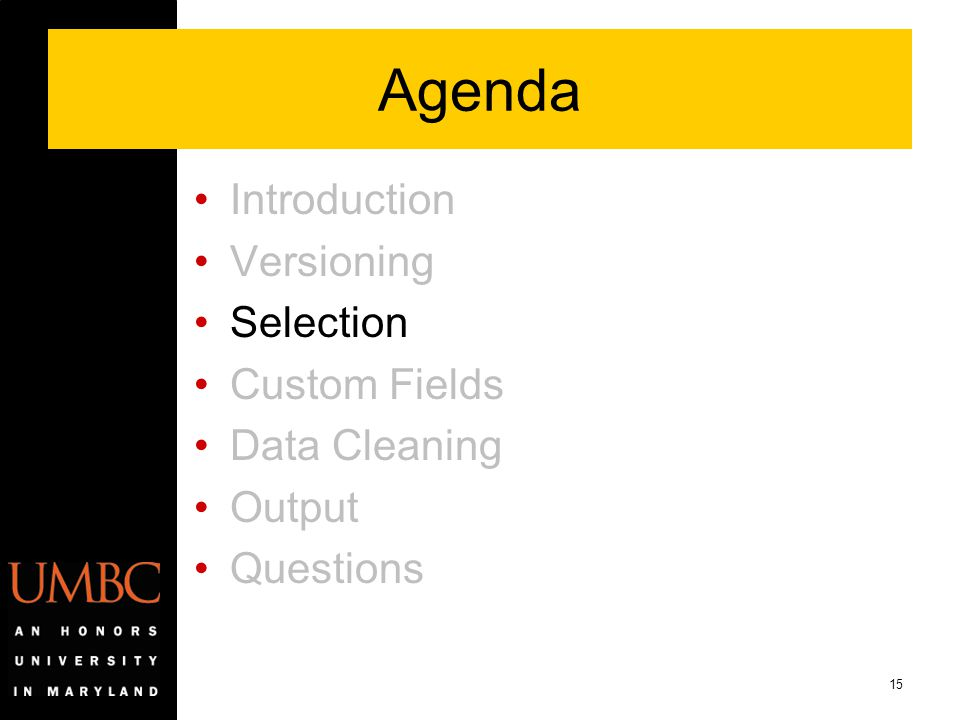 15 Agenda Introduction Versioning Selection Custom Fields Data Cleaning Output Questions