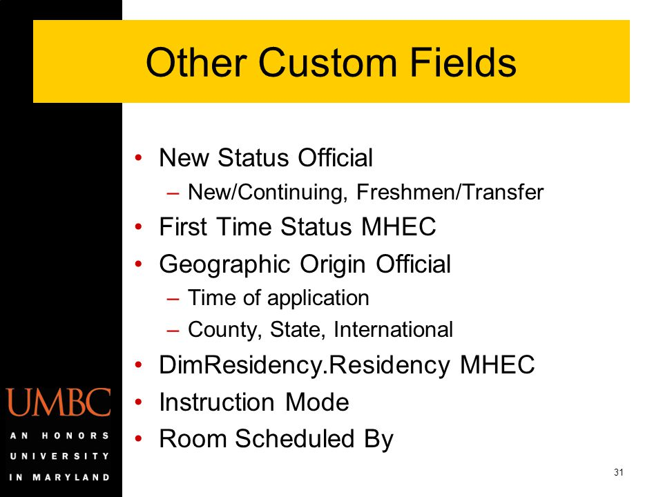 31 Other Custom Fields New Status Official –New/Continuing, Freshmen/Transfer First Time Status MHEC Geographic Origin Official –Time of application –