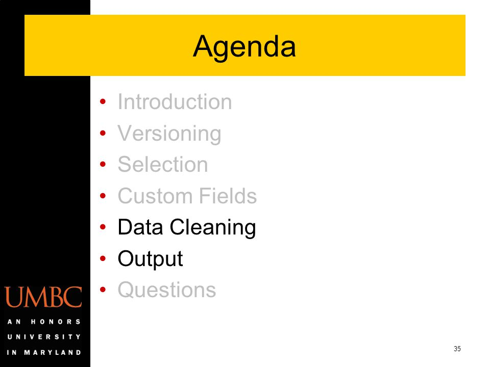 35 Agenda Introduction Versioning Selection Custom Fields Data Cleaning Output Questions