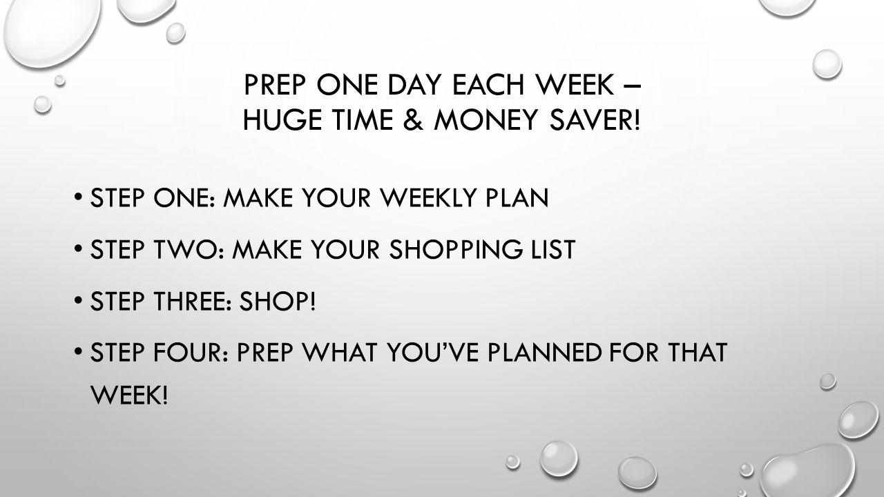 PREP ONE DAY EACH WEEK – HUGE TIME & MONEY SAVER.
