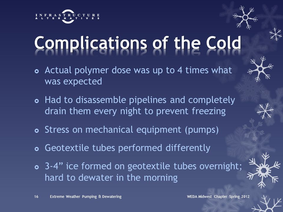  Actual polymer dose was up to 4 times what was expected  Had to disassemble pipelines and completely drain them every night to prevent freezing  S