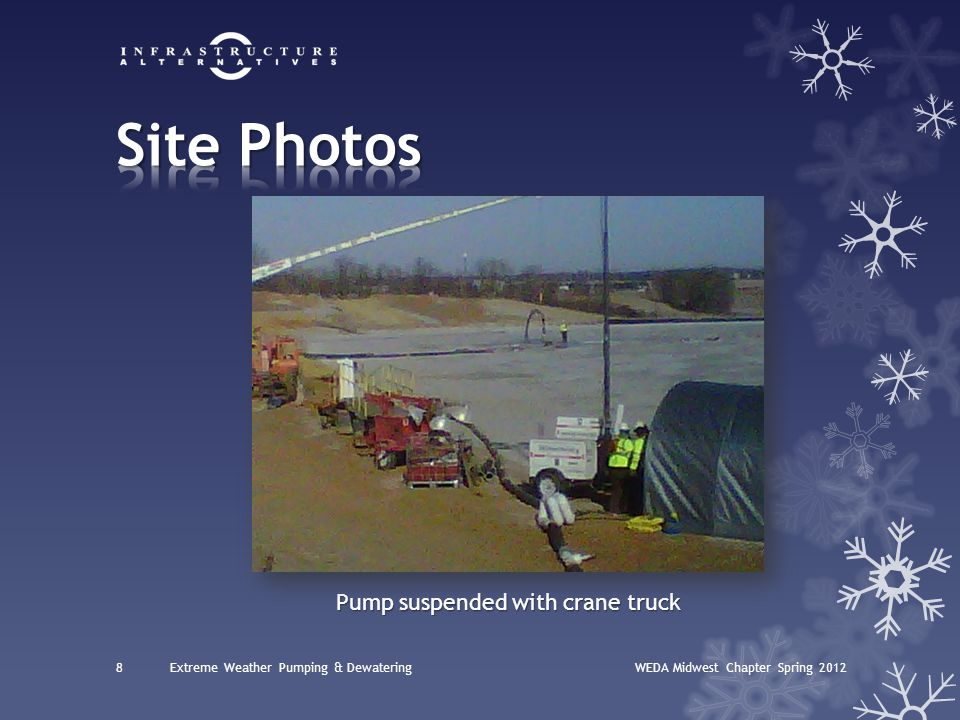 WEDA Midwest Chapter Spring 20128Extreme Weather Pumping & Dewatering Pump suspended with crane truck