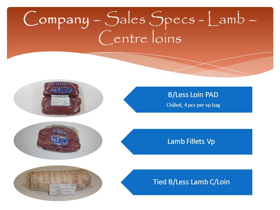 Company – Sales Specs - Lamb – Centre loins B/Less Loin PAD Chilled, 4 pcs per vp bag Lamb Fillets Vp Tied B/Less Lamb C/Loin