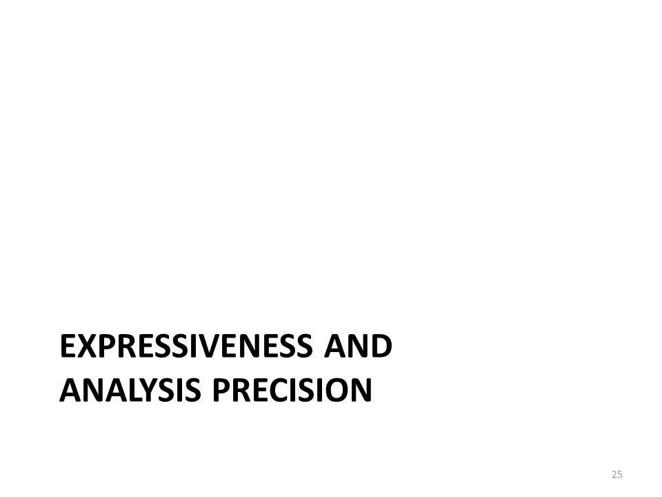 EXPRESSIVENESS AND ANALYSIS PRECISION 25