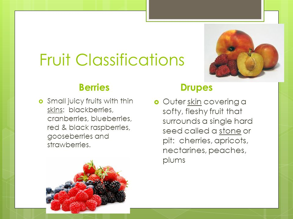 Fruit Classifications Berries  Small juicy fruits with thin skins: blackberries, cranberries, blueberries, red & black raspberries, gooseberries and strawberries.