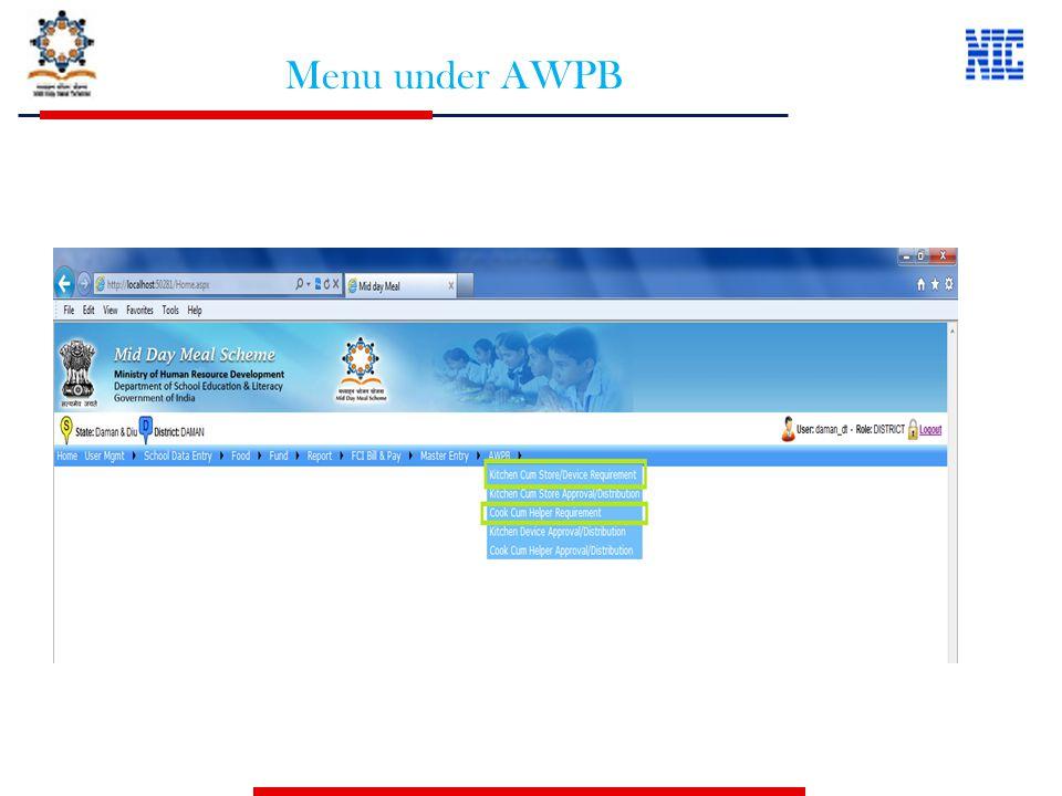 Menu under AWPB