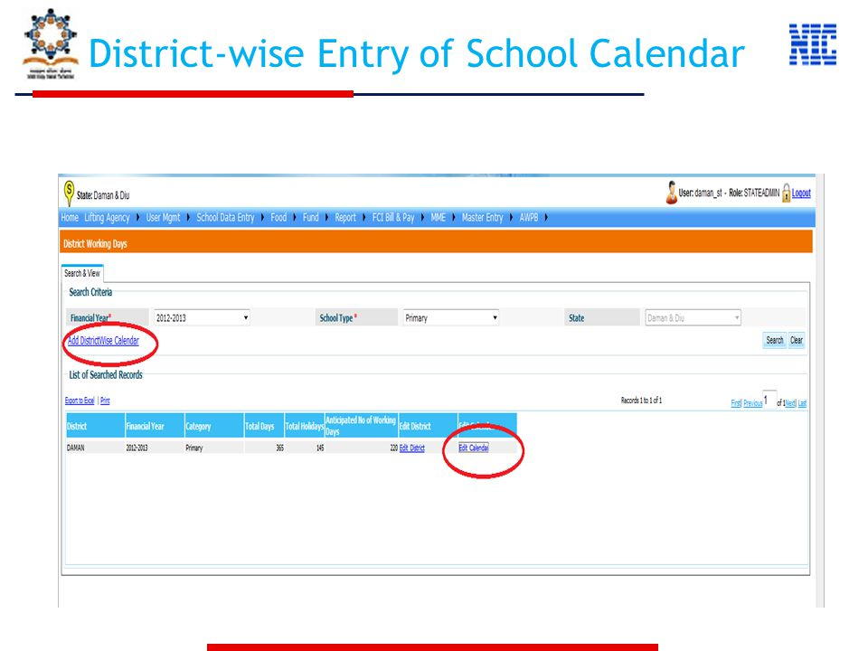 District-wise Entry of School Calendar