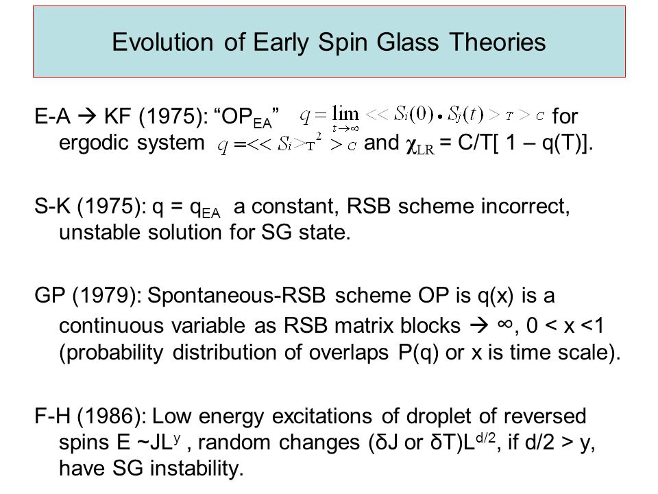 Evolution of Early Spin Glass Theories E-A  KF (1975): OP EA for ergodic system and χ LR = C/T[ 1 – q(T)].