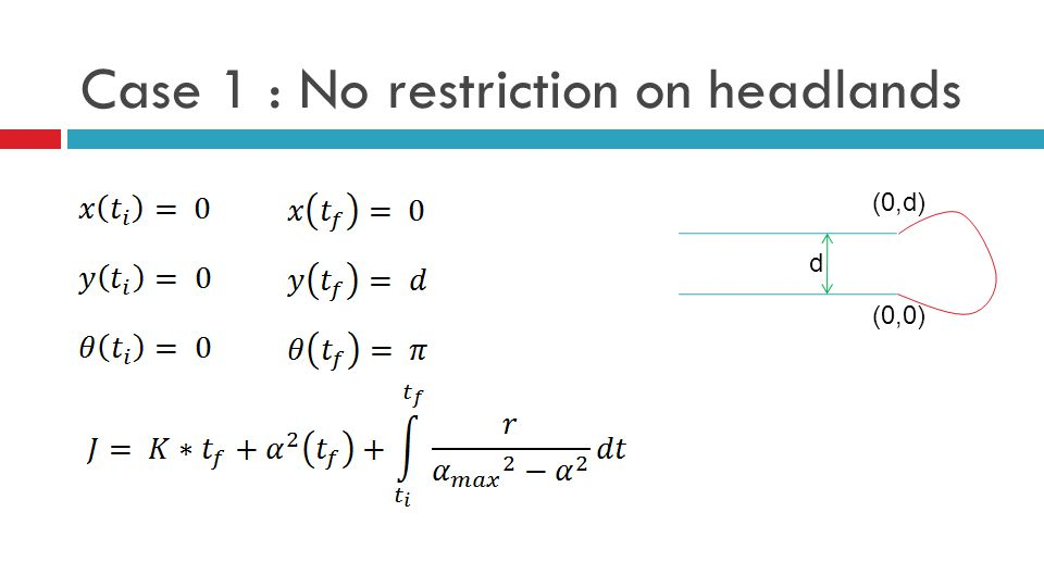 Case 1 : No restriction on headlands d (0,0) (0,d)