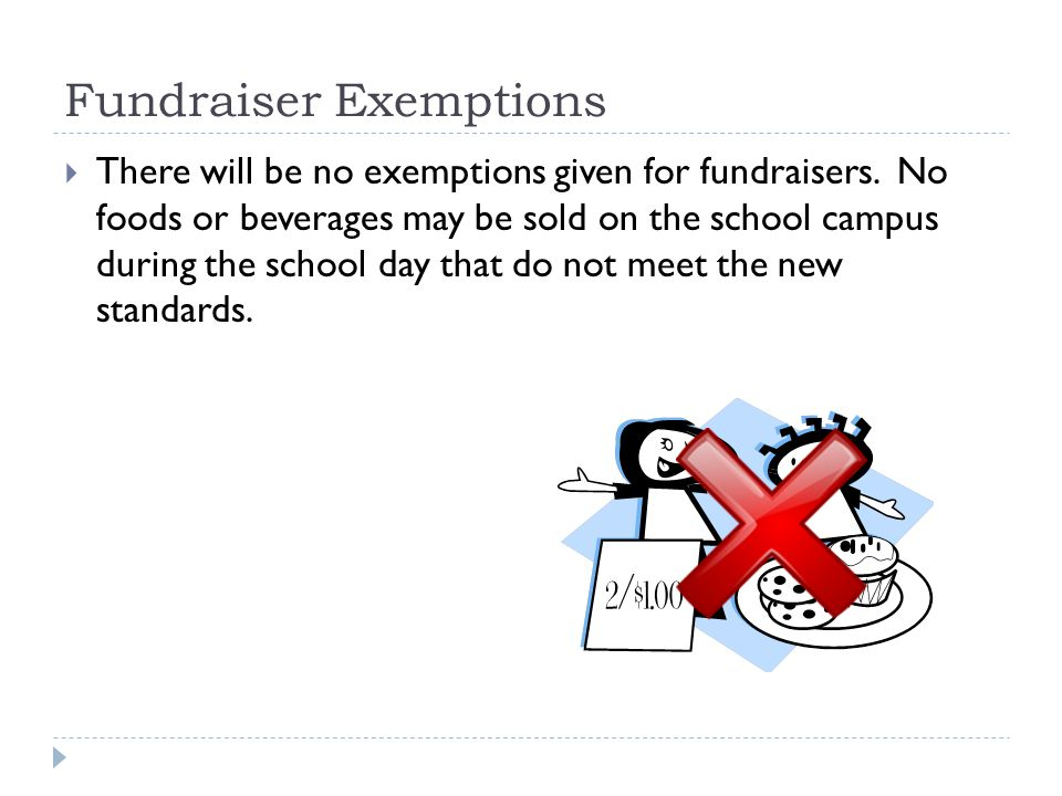 Fundraisers  All foods that meet the regulatory standards may be sold on the school campus from 30 minutes after lunch until 30 minutes after the school day.