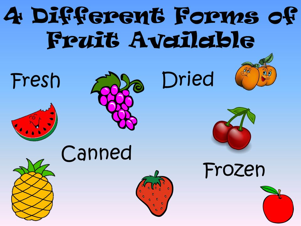 8 4 Different Forms of Fruit Available Fresh Dried Canned Frozen