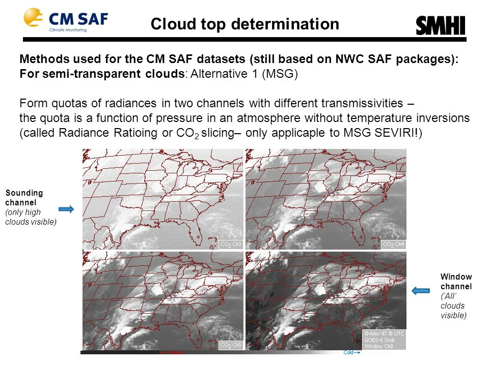 Methods used for the CM SAF datasets (still based on NWC SAF packages): Cloud top determination For semi-transparent clouds: Alternative 1 (MSG) Form quotas of radiances in two channels with different transmissivities – the quota is a function of pressure in an atmosphere without temperature inversions (called Radiance Ratioing or CO 2 slicing– only applicaple to MSG SEVIRI!) Window channel ('All' clouds visible) Sounding channel (only high clouds visible)