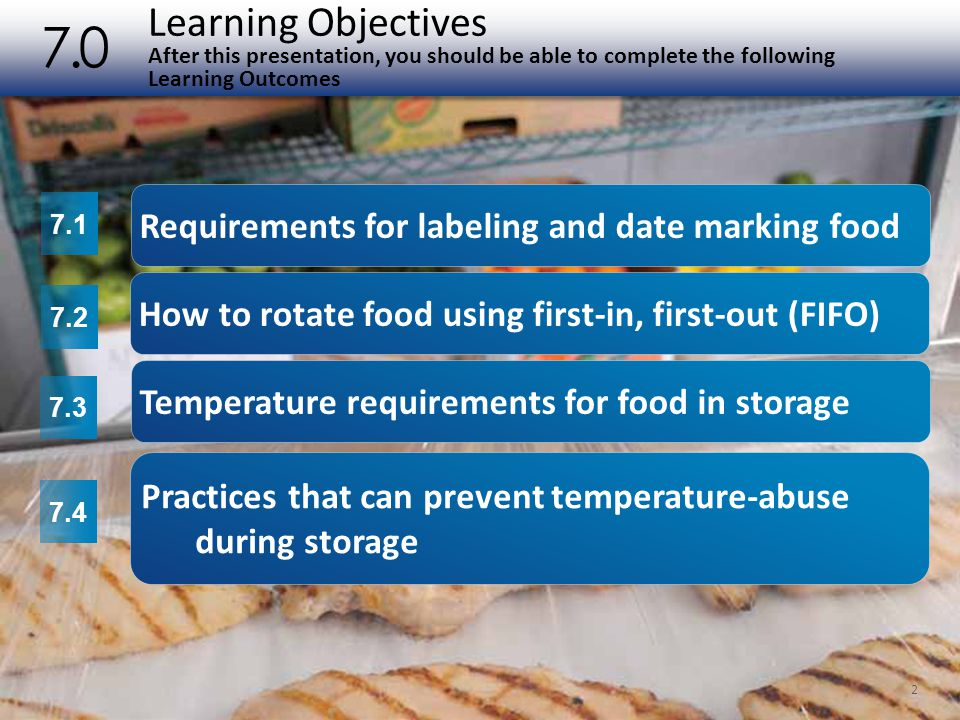 Learning Objectives (cont.) After this presentation, you should be able to complete the following Learning Outcomes 7.0 3 7.5 7.6 7.7 Locations where food should not be stored Practices that can prevent cross-contamination during storage Guidelines for storing specific types of food including meat, poultry, fish, shellfish, eggs, produce, and dry food