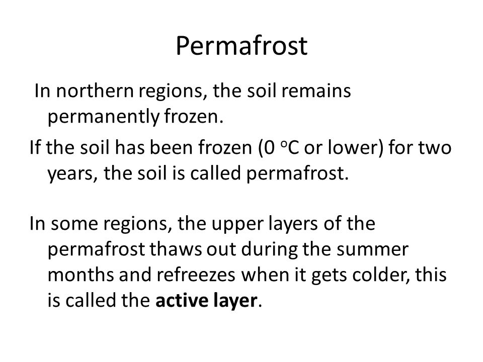 Permafrost In northern regions, the soil remains permanently frozen.