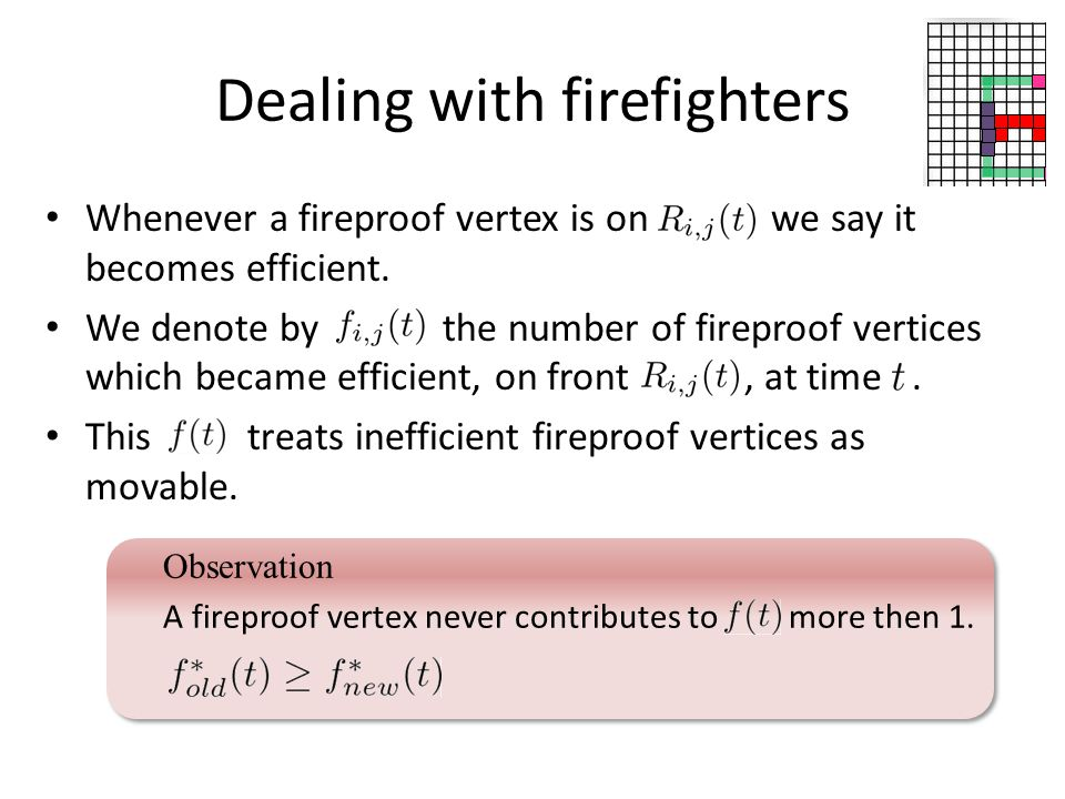 Dealing with firefighters Whenever a fireproof vertex is on we say it becomes efficient.