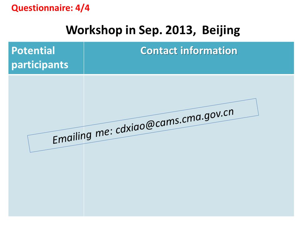 Potential participants Contact information Workshop in Sep.