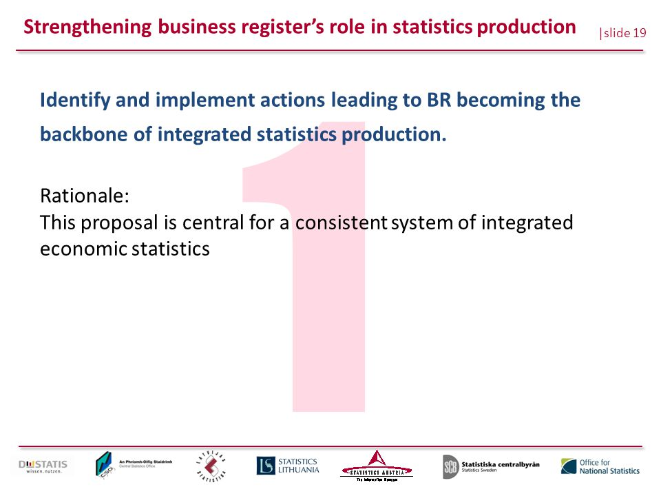 |slide 19 1 Identify and implement actions leading to BR becoming the backbone of integrated statistics production. Rationale: This proposal is centra