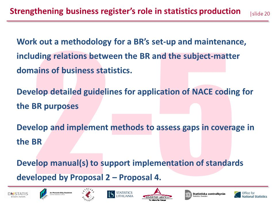 |slide 20 2-5 Work out a methodology for a BR's set-up and maintenance, including relations between the BR and the subject-matter domains of business statistics.