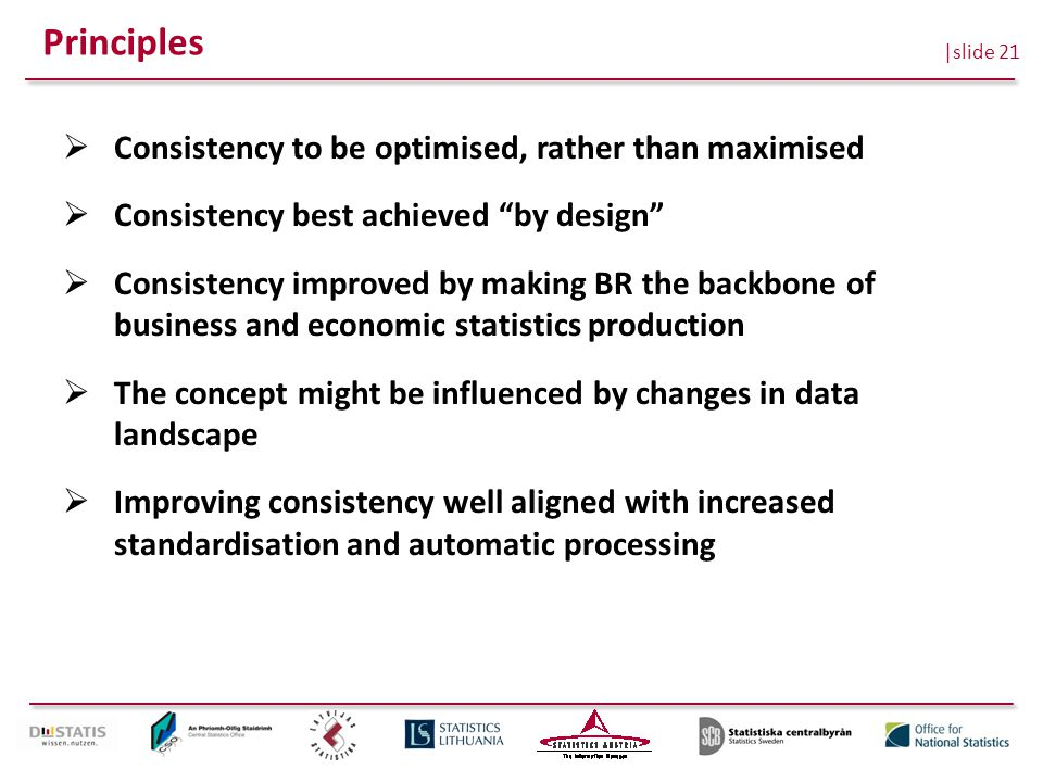 |slide 21 Principles  Consistency to be optimised, rather than maximised  Consistency best achieved by design  Consistency improved by making BR the backbone of business and economic statistics production  The concept might be influenced by changes in data landscape  Improving consistency well aligned with increased standardisation and automatic processing