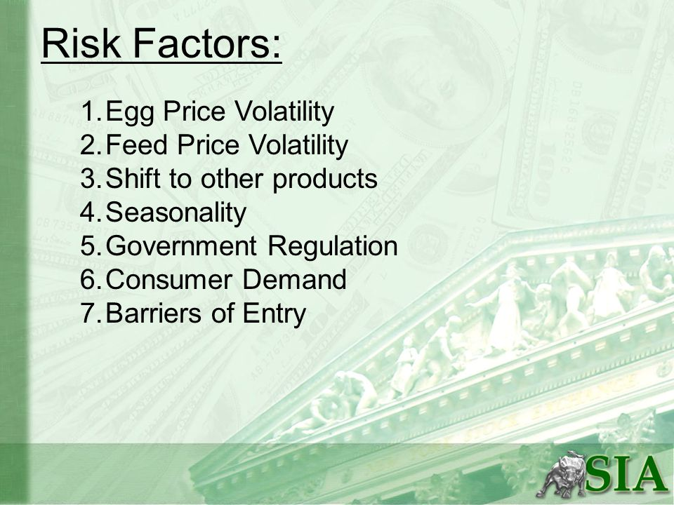 Risk Factors: 1.Egg Price Volatility 2.Feed Price Volatility 3.Shift to other products 4.Seasonality 5.Government Regulation 6.Consumer Demand 7.Barriers of Entry