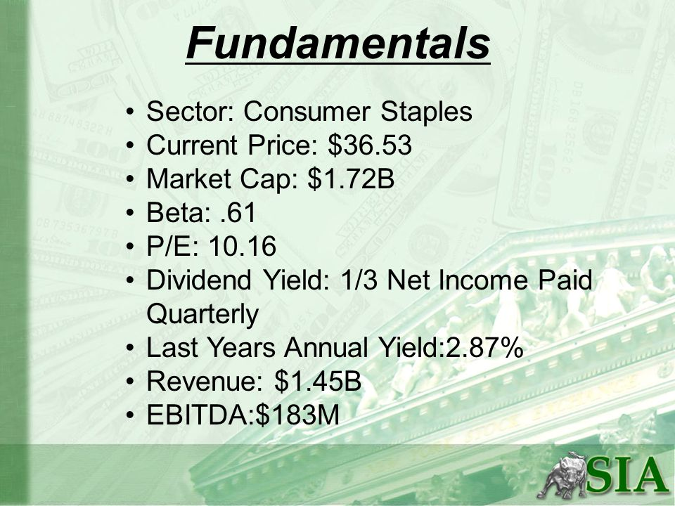 Fundamentals Sector: Consumer Staples Current Price: $36.53 Market Cap: $1.72B Beta:.61 P/E: 10.16 Dividend Yield: 1/3 Net Income Paid Quarterly Last Years Annual Yield:2.87% Revenue: $1.45B EBITDA:$183M
