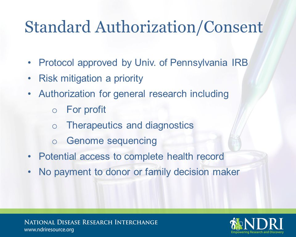 Standard Authorization/Consent Protocol approved by Univ.