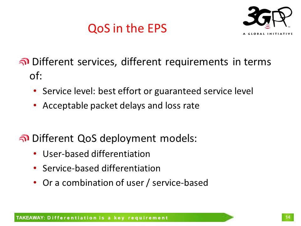 © 3GPP 2009 Mobile World Congress, Barcelona, 19 th February 2009 14 QoS in the EPS Different services, different requirements in terms of: Service level: best effort or guaranteed service level Acceptable packet delays and loss rate Different QoS deployment models: User-based differentiation Service-based differentiation Or a combination of user / service-based TAKEAWAY: Differentiation is a key requirement