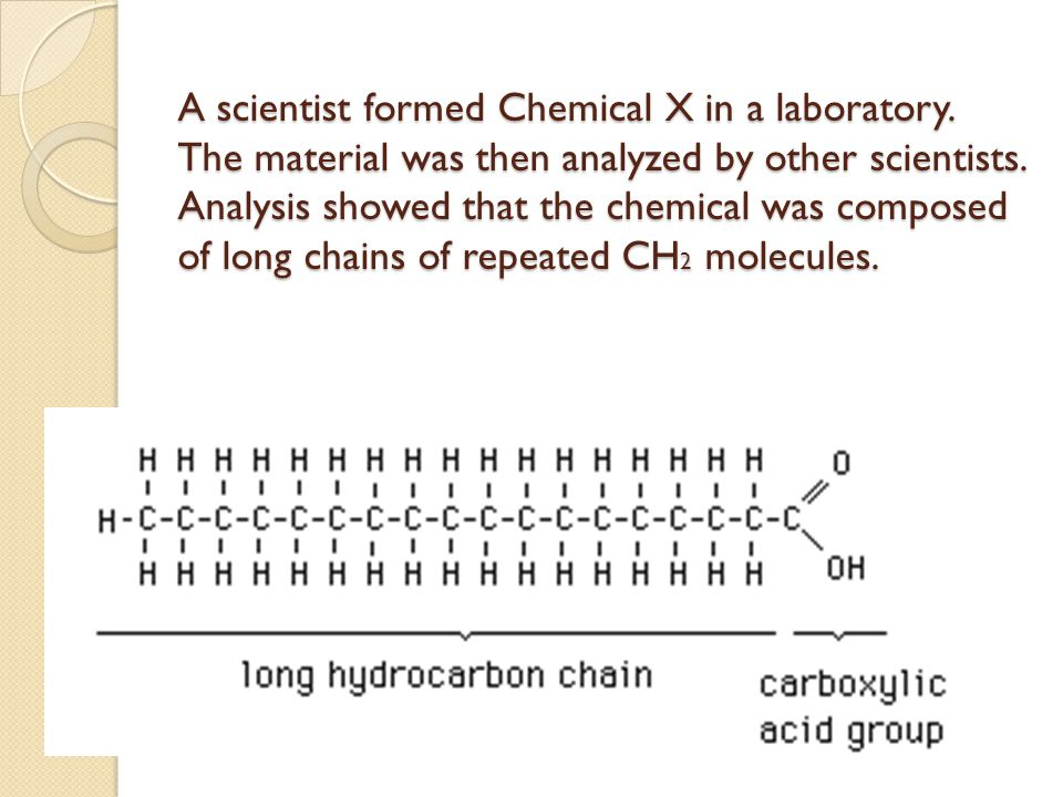 A scientist formed Chemical X in a laboratory.The material was then analyzed by other scientists.
