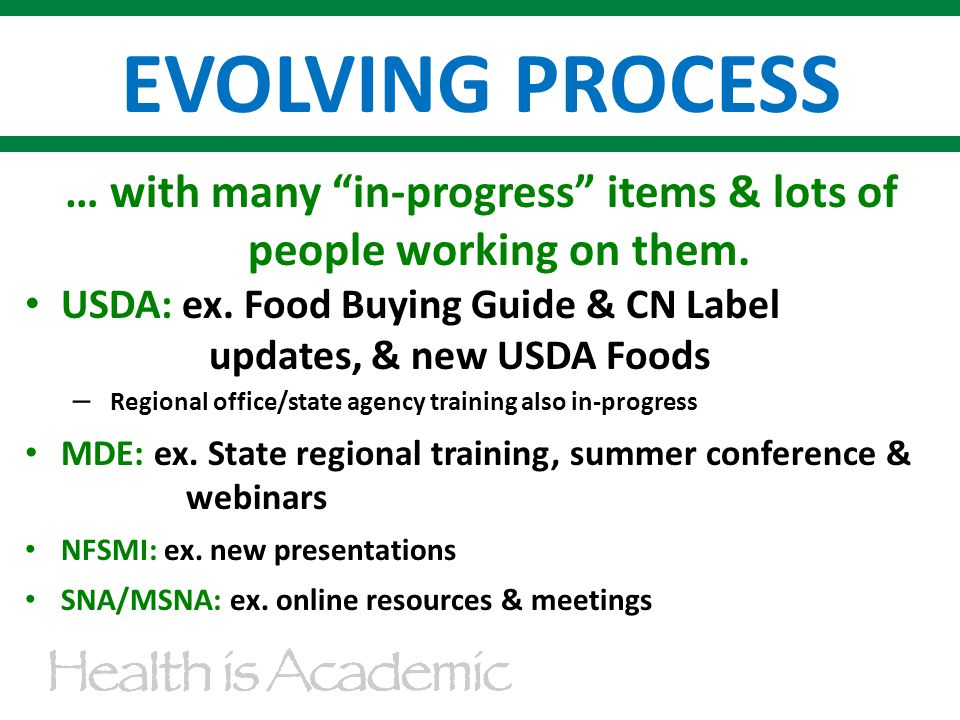EVOLVING PROCESS … with many in-progress items & lots of people working on them.