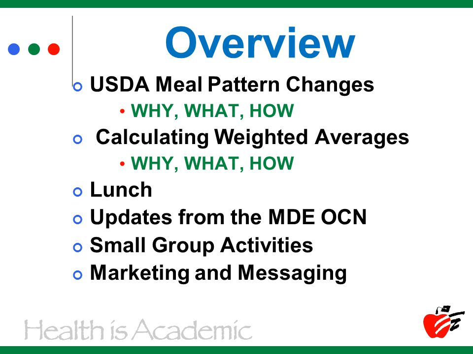 Overview USDA Meal Pattern Changes WHY, WHAT, HOW Calculating Weighted Averages WHY, WHAT, HOW Lunch Updates from the MDE OCN Small Group Activities Marketing and Messaging